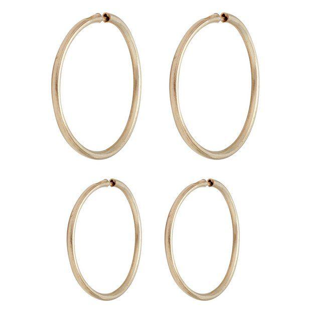 Revere 9ct Gold Sleeper Hoop Earrings Set Of 2 Pairs At Argos Co