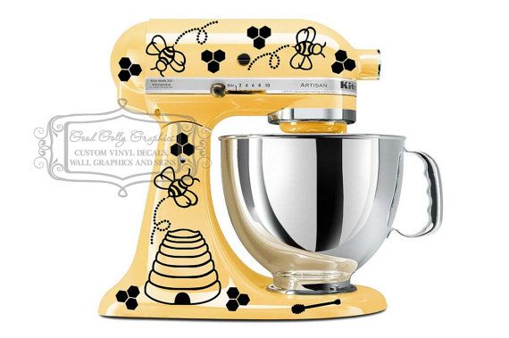 Kitchen mixer vinyl decal set 43 pieces, bees, trails, hives, honey combs and honey sticks on Etsy, $15.00 Since my mixer isn't being used anyway I might as well decorate it!!!