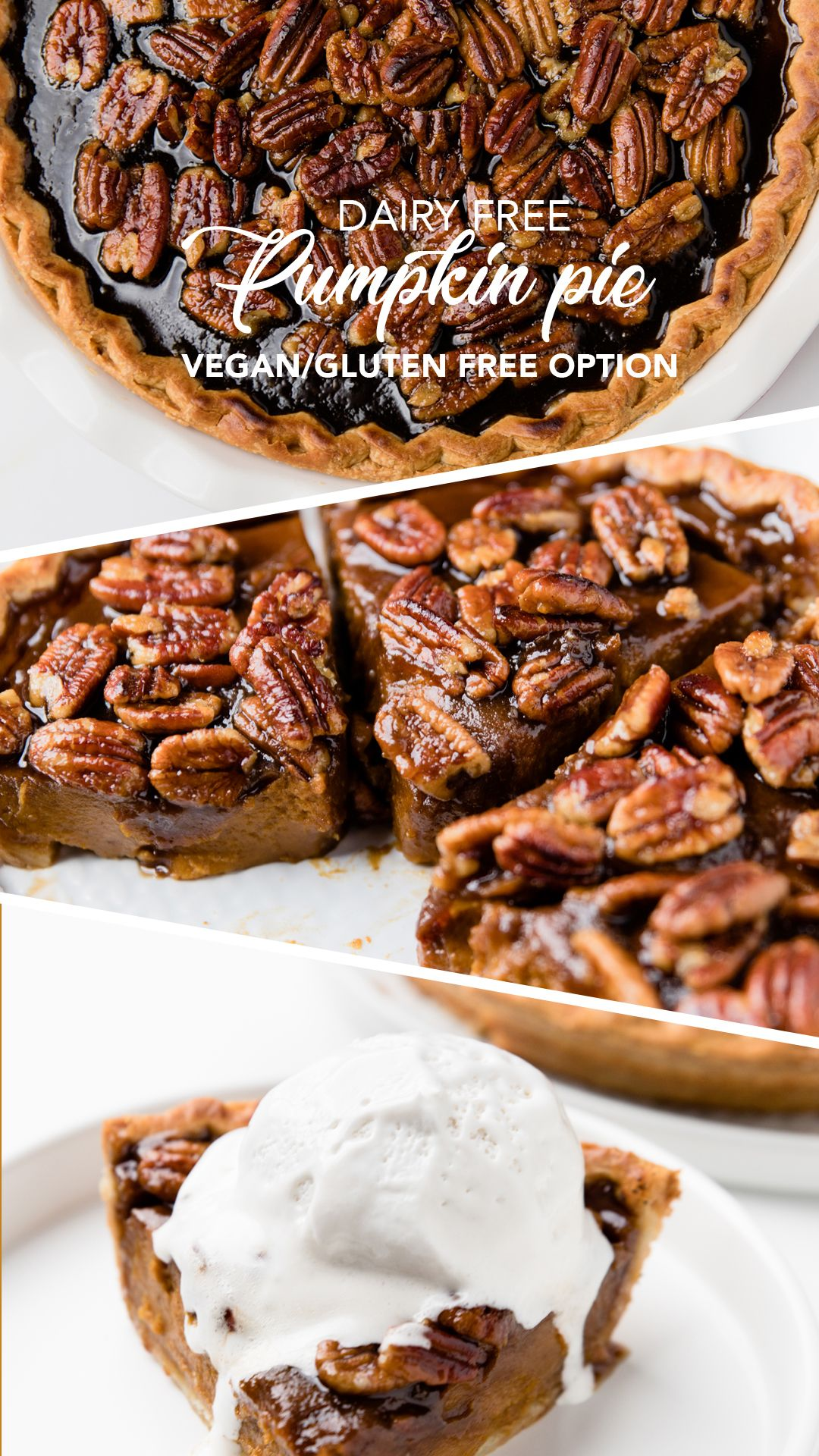 Dairy Free Pumpkin Pie is also vegan!  Plus there's a way to make it gluten free or nut free.  Try it today! Super simple pumpkin pie recipe #dairyfree