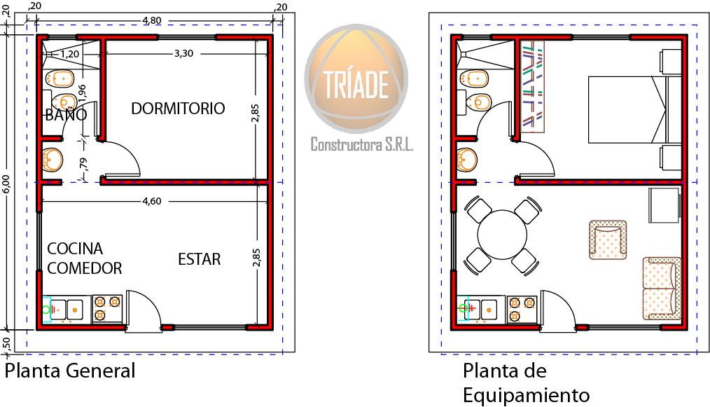 Vivienda 1 dormitorio 34 84m2 planos viviendas tr ade for Planos de viviendas de 2 dormitorios