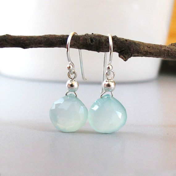 Ocean Chalcedony Earrings Briolette Sterling Silver Drop DJStrang Dangle Glowing Aqua Gemstone Boho Chic Minimalist