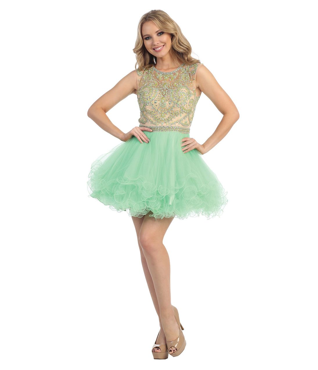 Green dress prom  Mint Green u Nude Sheer Beaded Short Dress for Prom   Mint