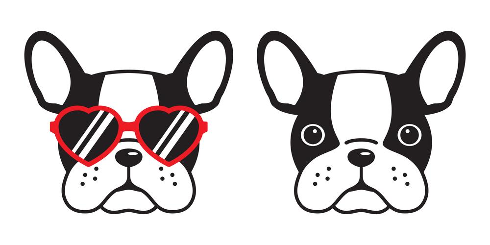 French Bulldog Face Dog Heart Glasses Dog Face Drawing French Bulldog Cartoon Bulldog Cartoon