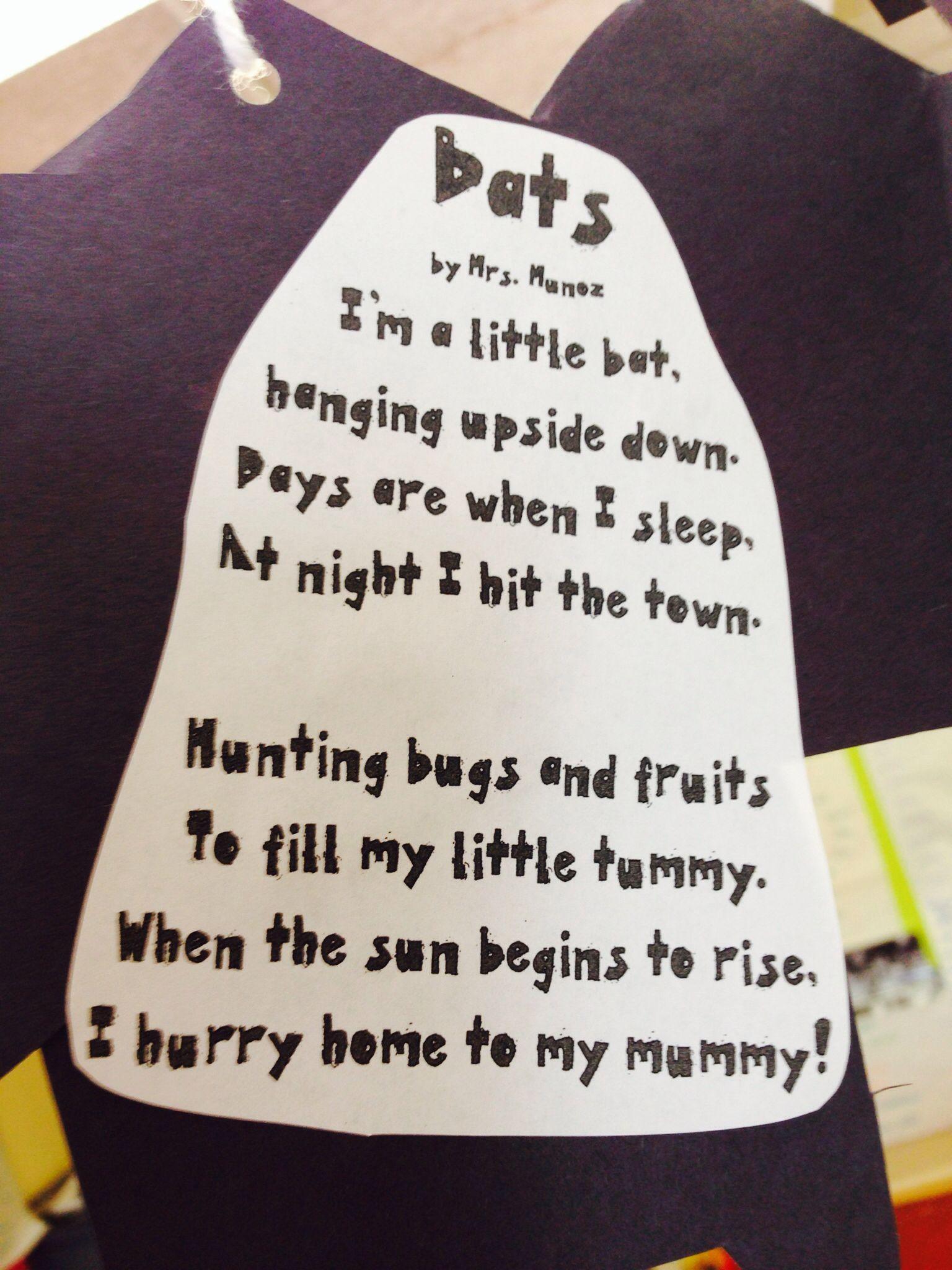 bat poem crafts pinterest bats poem and kindergarten