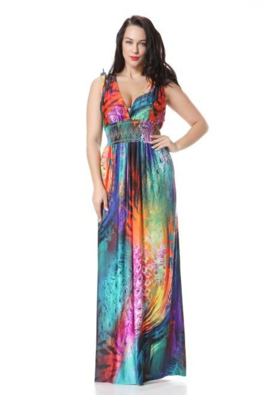Wensltd Women PLUS SIZE Oversize Boho Long Beach Rainbow ...