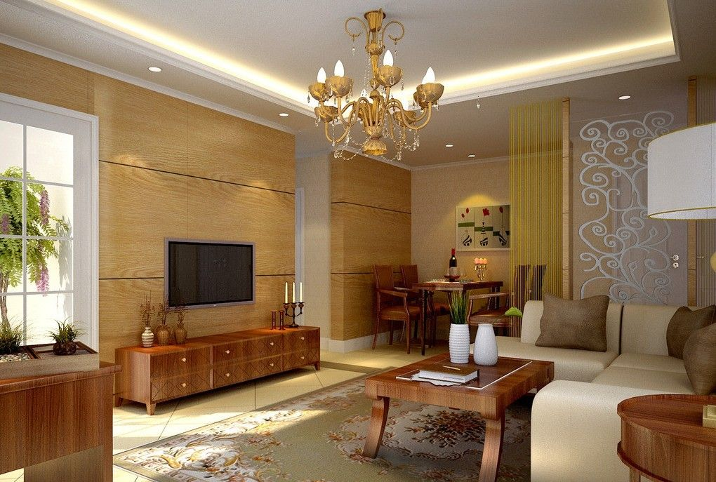 Pop ceiling designs for living room with wooden furnitureIdeas