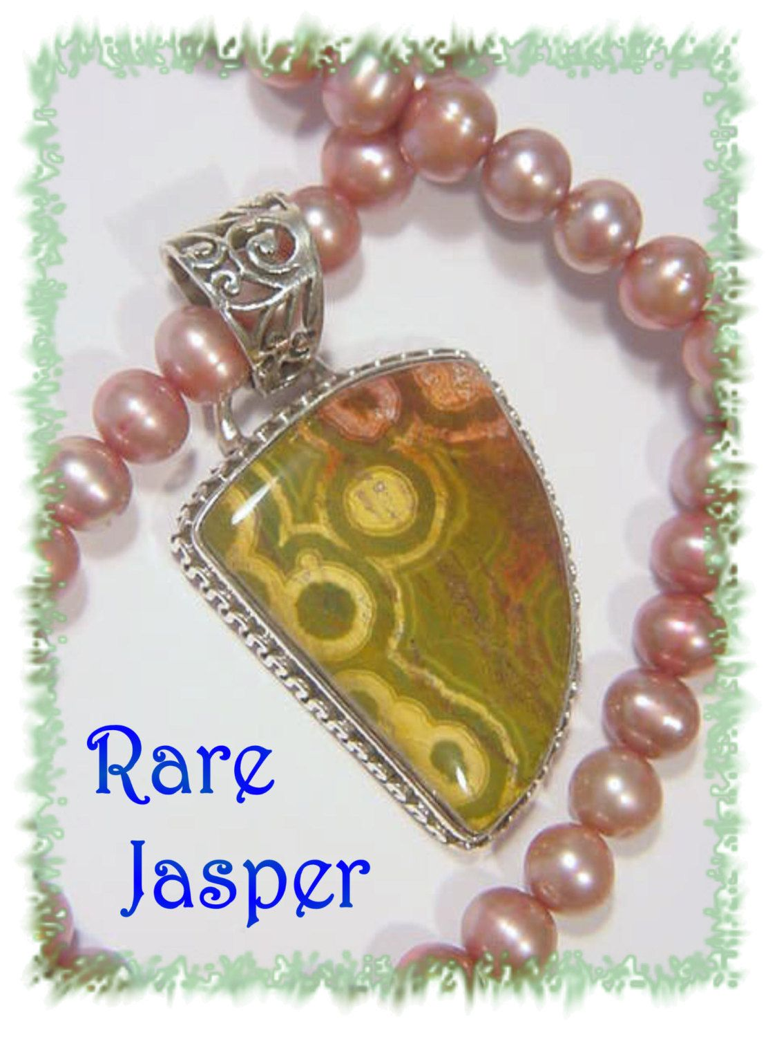 Ocean Jasper - Rare Pink & Green Circle Sterling Silver Artisan Pendant - Iridescent Pink Pearl Necklace - The Perfect Gift - FREE SHIPPING