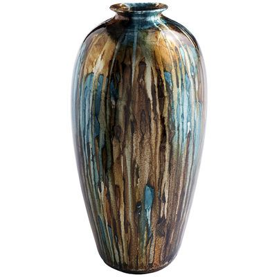 X Taupe Turquoise Foil Vase Tall 8 Diameter X 175 High