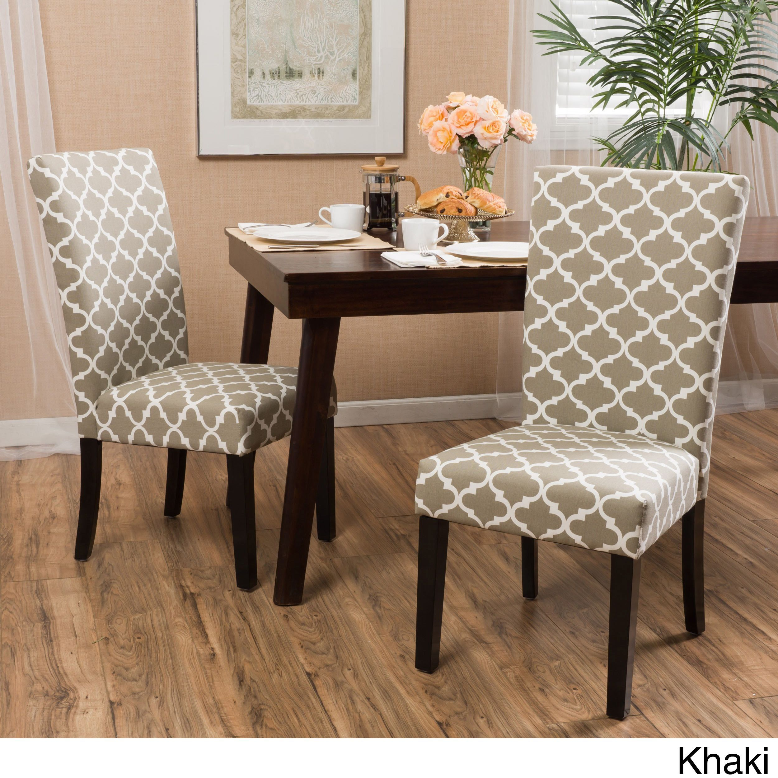Aurora Fabric Geometric Print Dining Chair Set Of 2 Impressive Patterned Dining Room Chairs Inspiration Design
