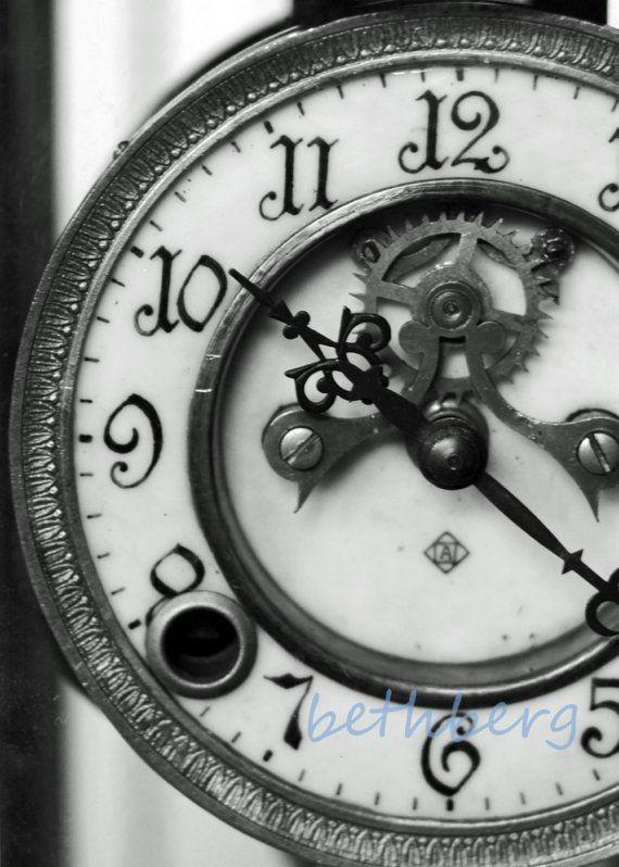 Clock 5x7 Vintage Clock Clock Old Clocks