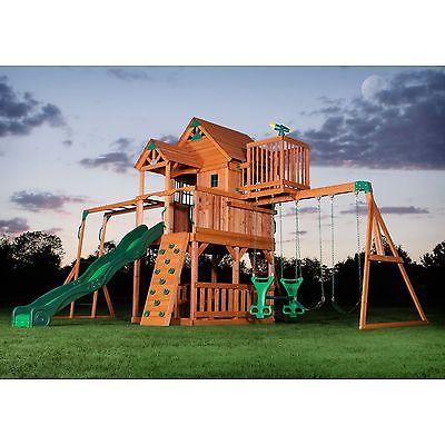 NEW BIG 9 KID Cedar Wood Fort Playground Slide Monkey Bars Swing Set Fort Playground Ideas Backyard on playhouse fort, swing set fort, diy fort, snow fort, build a back yard fort,
