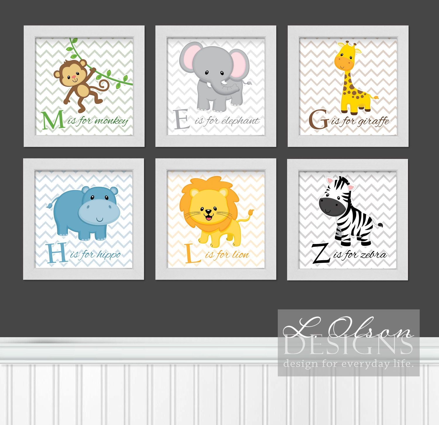 Zoo Safari Animals Chevron And Letters Nursery Art