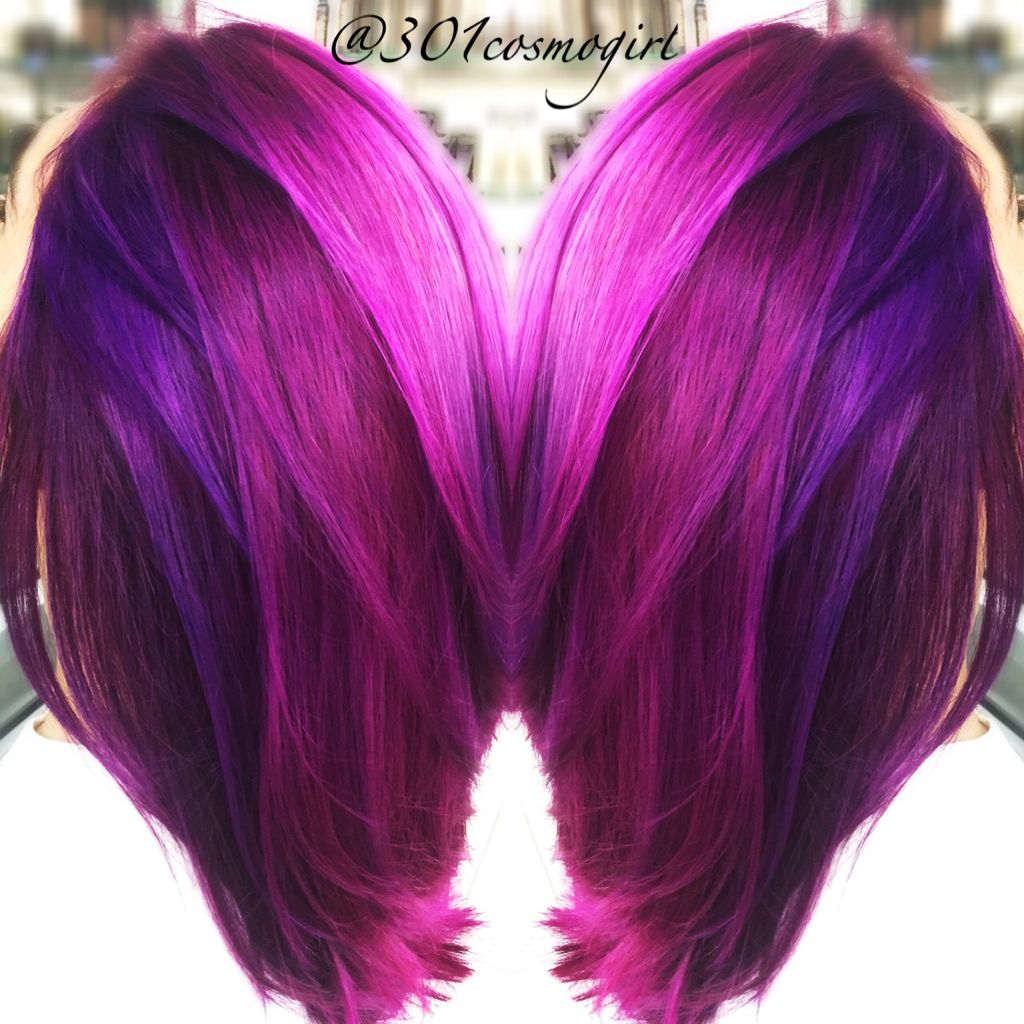 Love My Job Love This Bright Purple Magenta Pink Hair Used A Mixture Of The Joico Color Intensity Color Hair Color Purple Purple Hair Hair Color Highlights