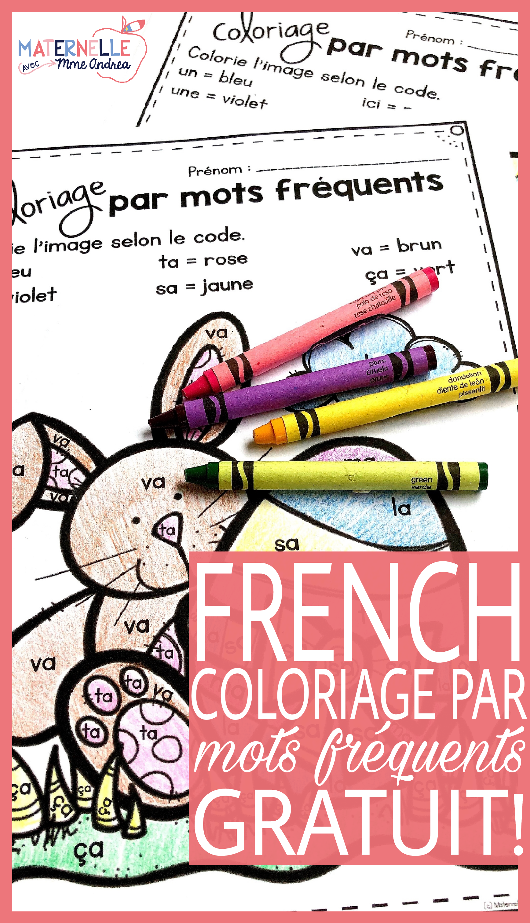 Free French Easter Colour By Sight Word Sheets Coloriage