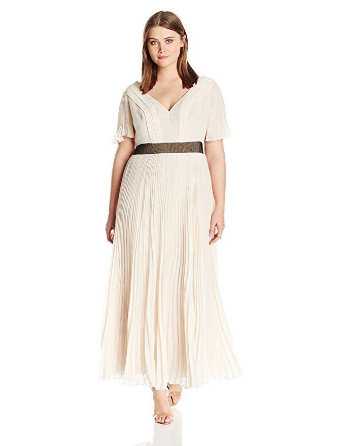 5acb4de19e5f Plus Size Wedding Guest Dress - ABS by Allen Schwartz Women s Plus-Size  Pleated Chiffon Gown with Flutter Sleeves