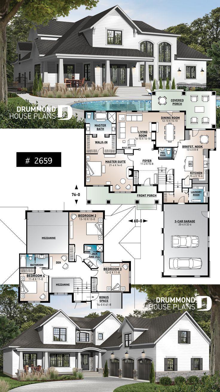 Photo of Bauernhaus mit 4 Schlafzimmern und Garage für 3 Autos – # 3car #bedrooms #Farmhous …  #auto…