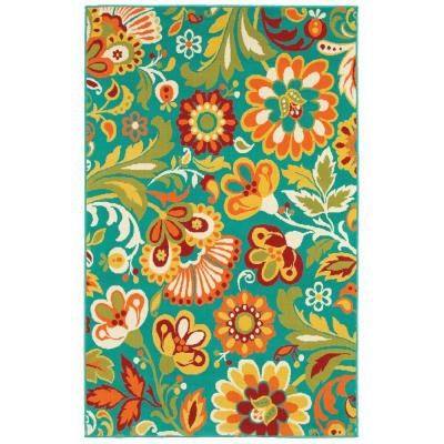 Shaw Living Floral Turquoise 7 Ft 10 In X 10 Ft 6 In Indoor Outdoor Area Rug Discontinued 3k38410400 At The Home De Floral Rug Shabby Chic Style Shabby Chic