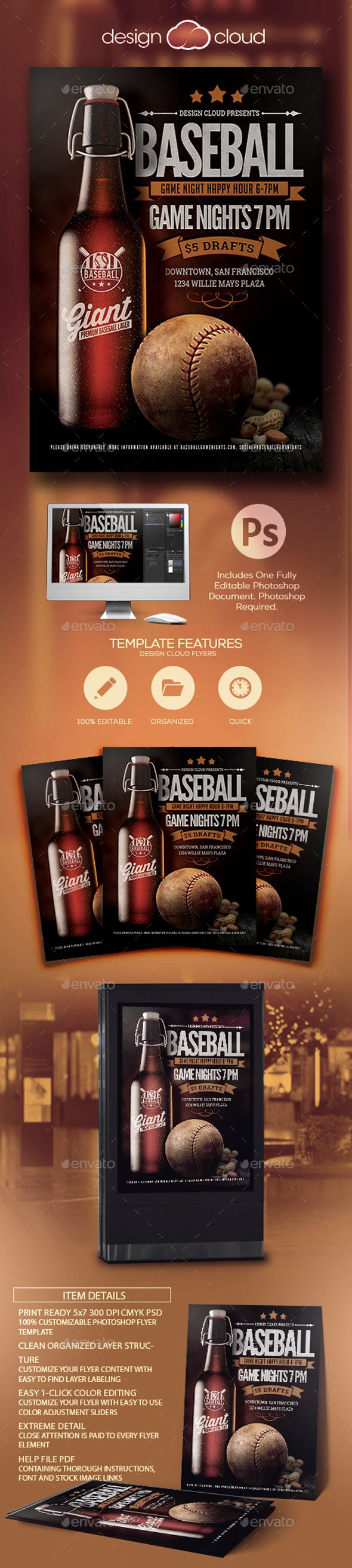 Baseball Sports Bar Promo Flyer Template - Sports Events#Design #Flyer #Template Download