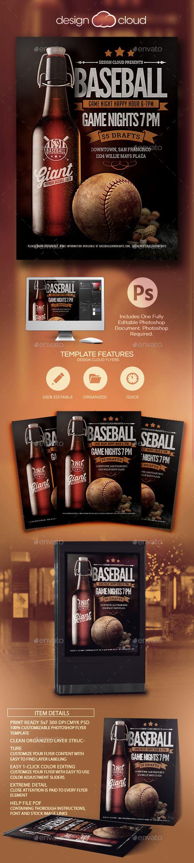 baseball sports bar promo flyer template