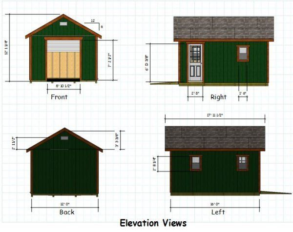 12x16 Gable Storage Shed Plans With Roll Up Shed Door Shed Plans Diy Shed Plans Storage Shed Plans