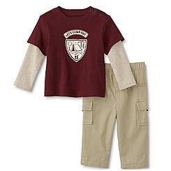 Little Wonders Newborn & Infant Boy's Layered-Look T-Shirt & Cargo Pants - Camp
