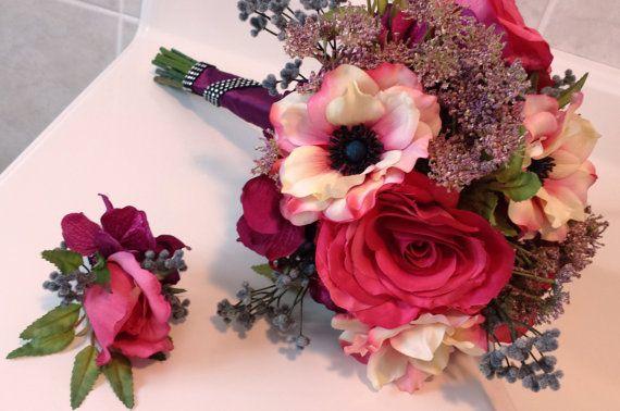 Silk Bridal Bouquet Boutonniere Set  Purple by GigisFlowerFancy