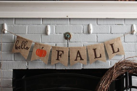 Hello Fall Banner, Hello Fall, Burlap Bunting, Autumn Garland, Decorate Mantel for Season, Thanksgiv #hellofall