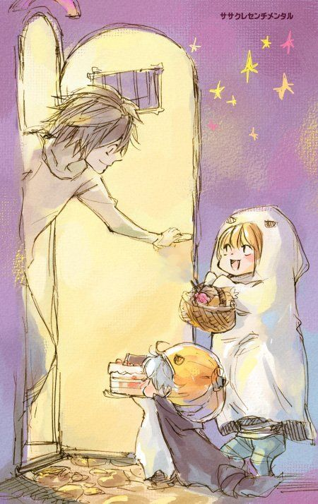 L-(Opening the Door)/ Mello and Near- (Trick-or-Treating)! <3  XD