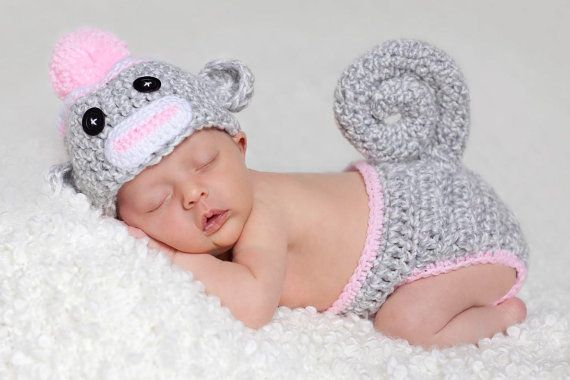 OMG Adorable!!!  Sock Monkey Hat and Diaper Cover Newborn  by lyttlesister on Etsy, $30.00