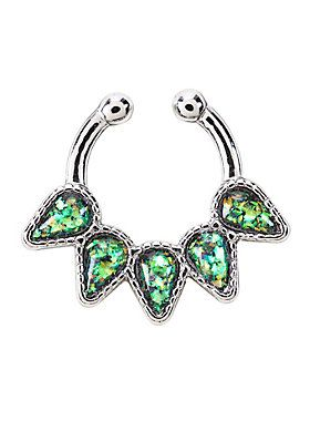 Glitter Opal Teardrop Faux Septum Ring With Images Faux Septum