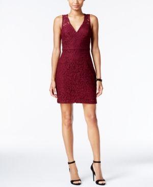 BCBGeneration Lace V-Neck Sheath Dress - Red 10