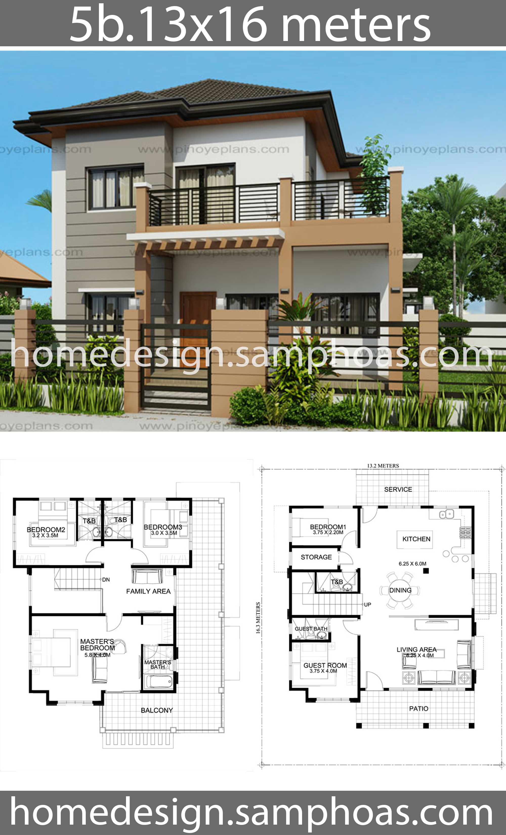 House Design Plans 13x16m With 5 Bedroom House Idea Modern House Plans House Plans Australia House Blueprints