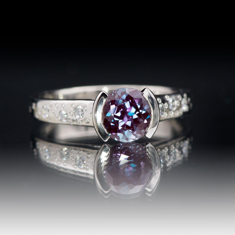 Alexandrite Half Bezel Diamond Star Dust Rose Gold