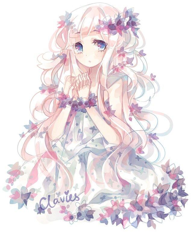 Jolie Fille Avec Robe De Fleur Anime Pinterest Manga Dessin