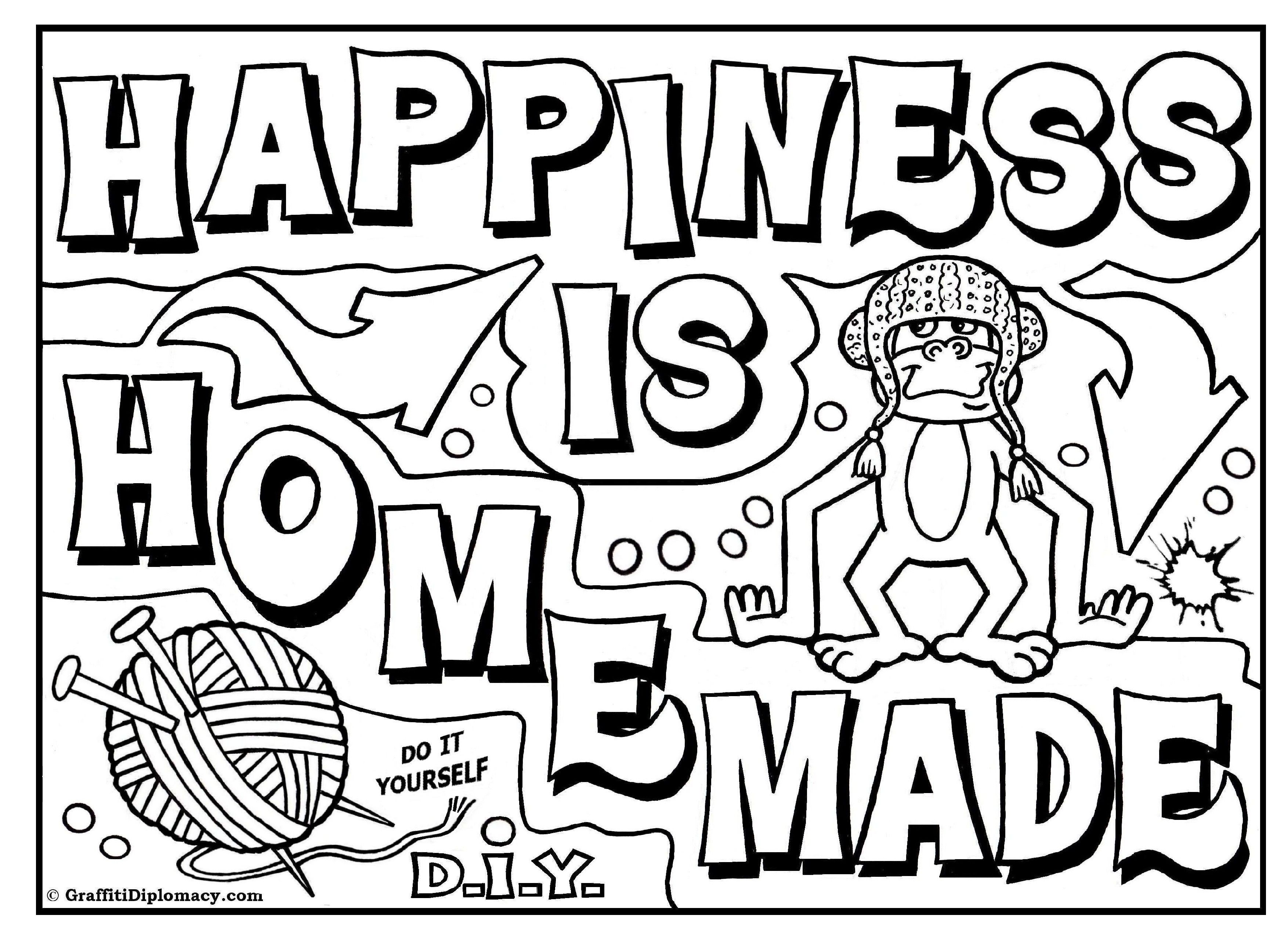 Free Coloring Page D I Y Graffiti Happiness Is Homemade Free Printable Coloring Pages Cool Designs To Draw Coloring Books