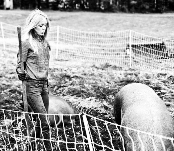 emerson of emerson fry tending to her pigs.