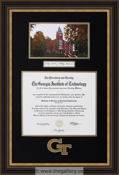 Georgia Tech diploma with logo cut into the mat cross stitch framer ...