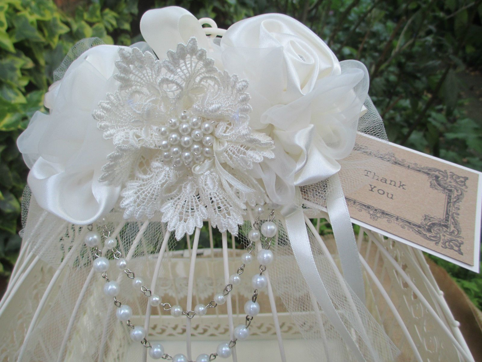 Vintage Style Cream Birdcage Wedding Card Post Box Lace & Pearl