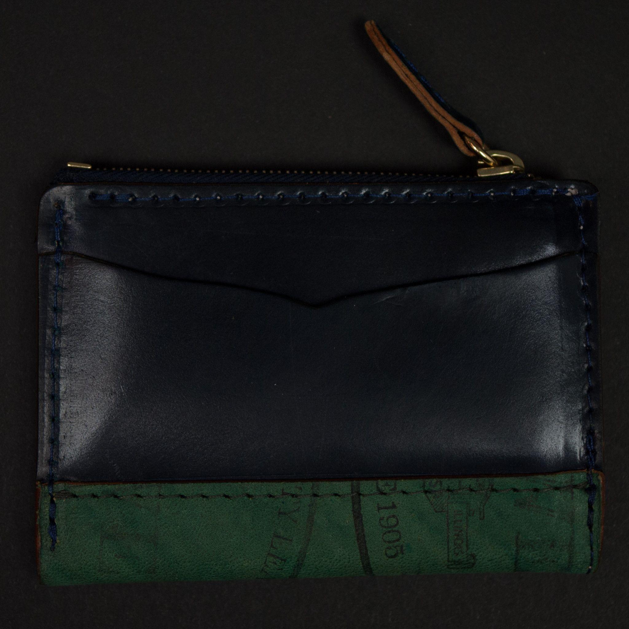 Laulom Navy Horween Shell Cordovan Slim Zip Card Wallet Products