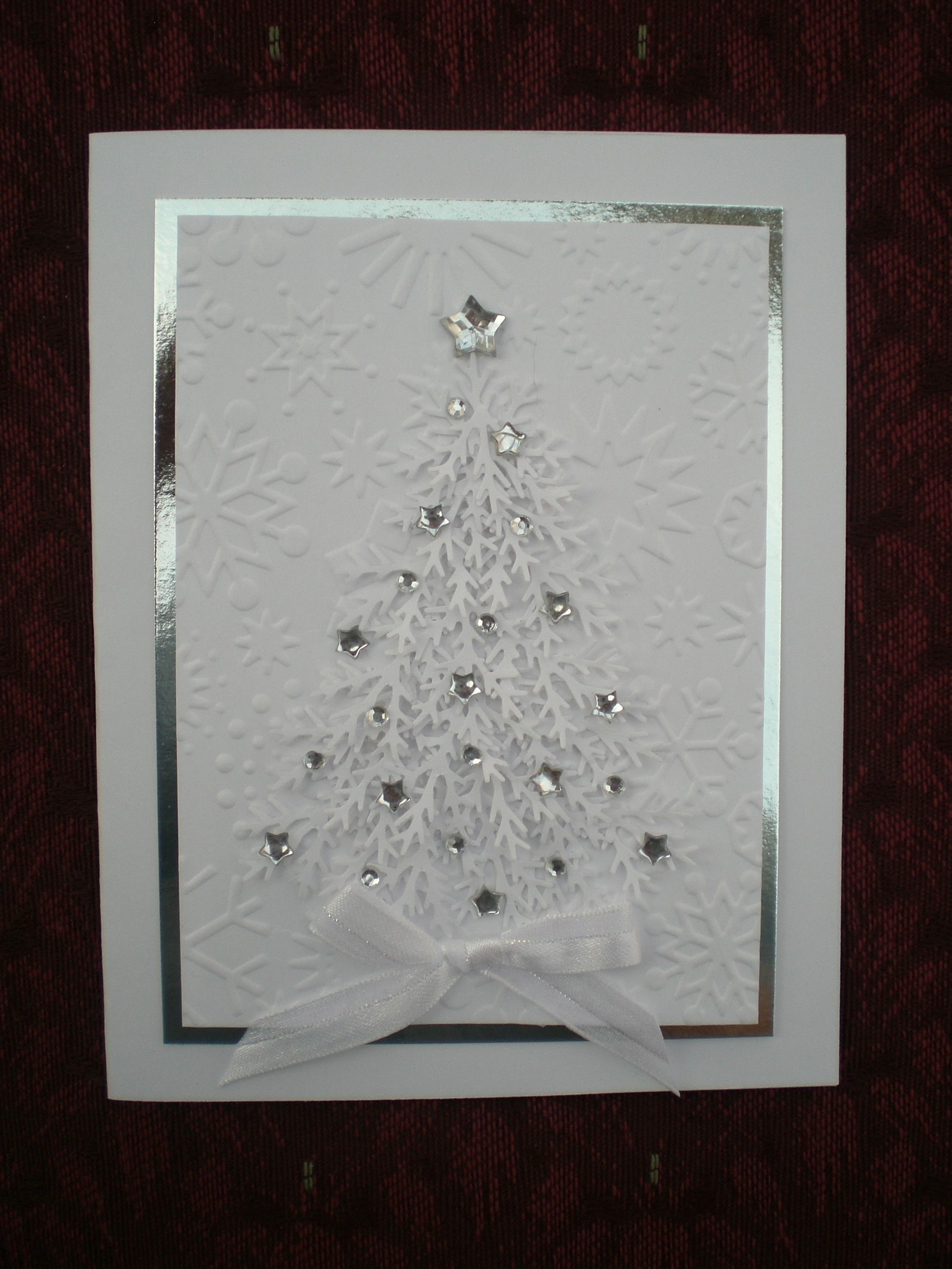 A white and silver Christmas card Diy christmas cards