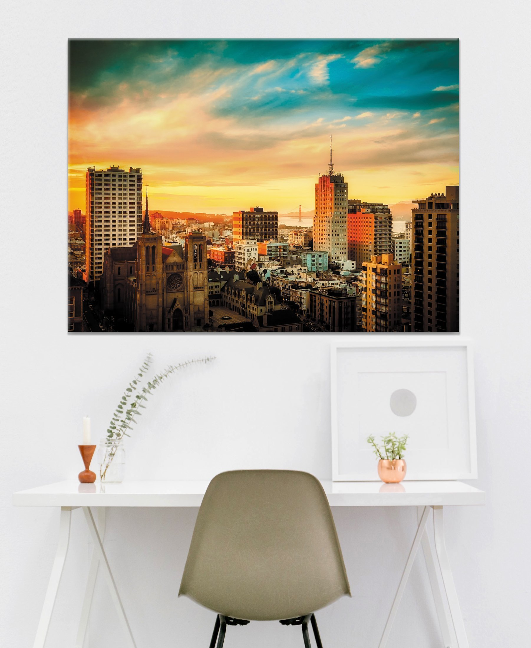 City Wall Art Sunset Cityscape Wood Frame Ready To Hang Wall
