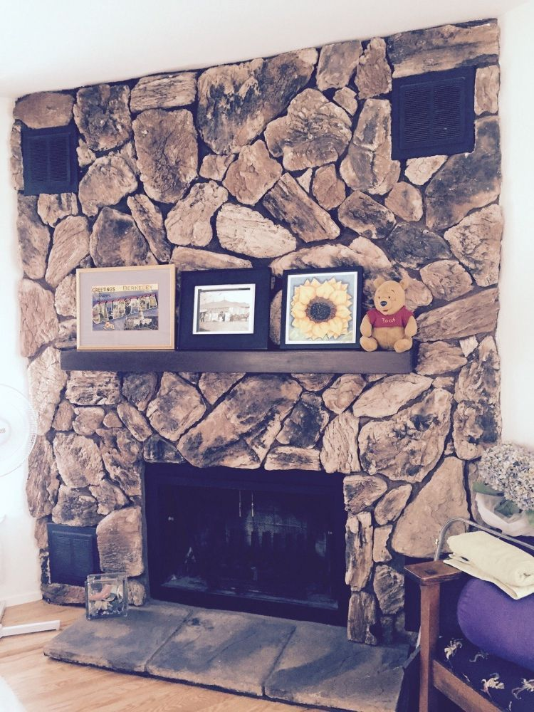 Painting A Lava Rock Wall Mantle Diy Our Home In 2019