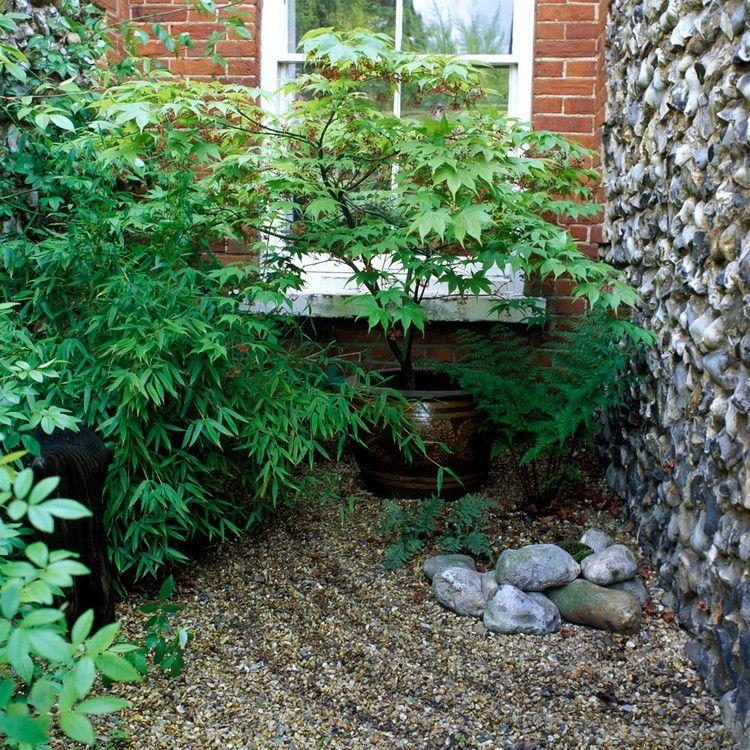 Ecke Im Garten Japanisch Gestalten Kiesflache Bambus Garden Ideas