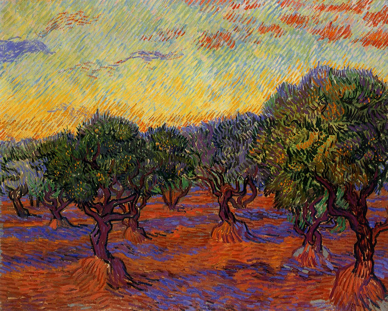 """vincent van goghs the olive trees The cypress trees in """"the starry night"""": a symbolic self-portrait of vincent van gogh jessica caldarone principles of research/arh 498-001."""