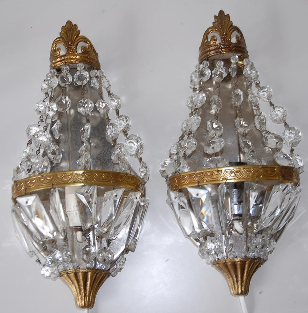 Pair French Vintage Bronze U0026 Crystal 1 Light Wall Sconces