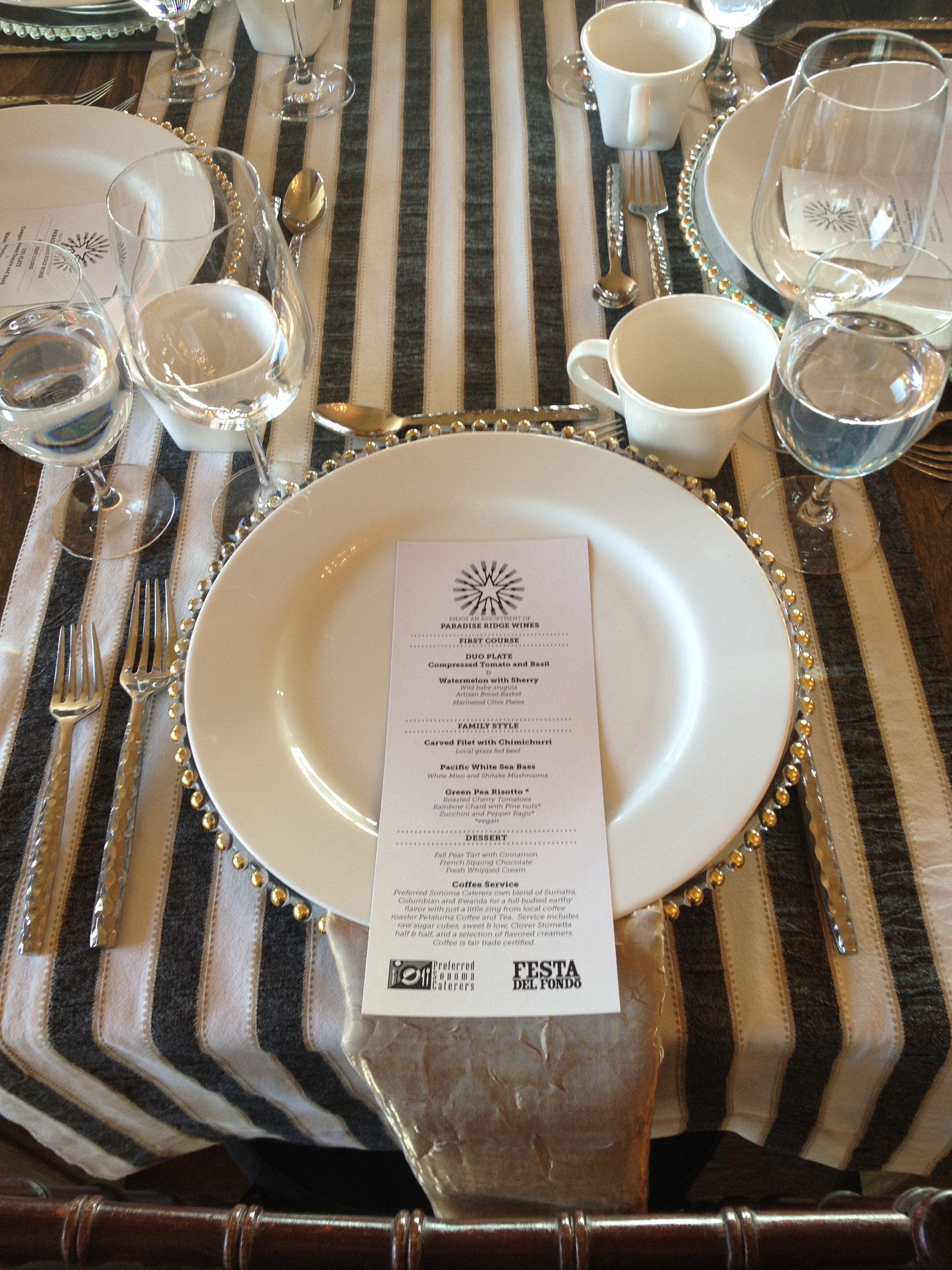 Black and White Strip runners on Farm Table