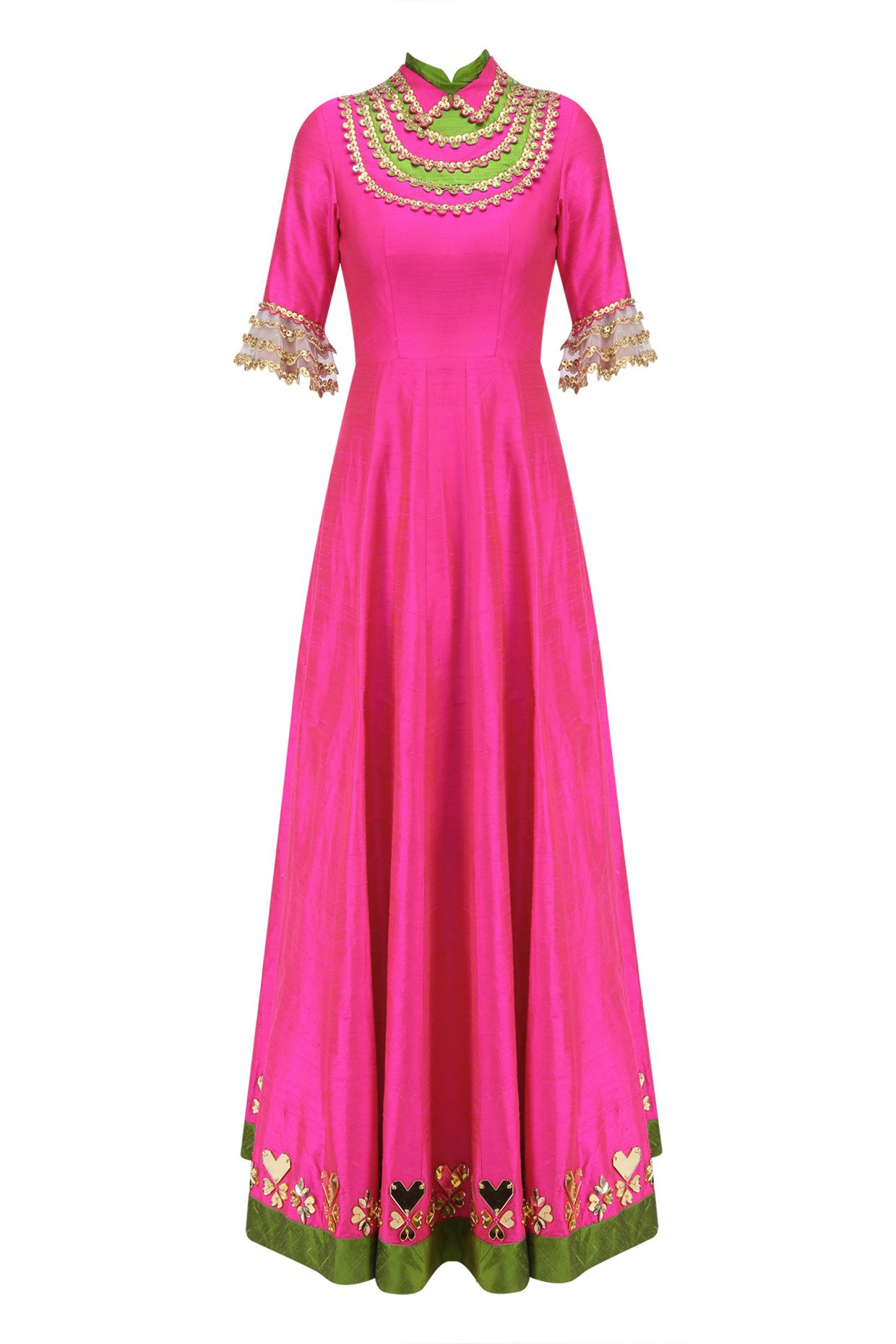 eabea2965b Hot pink and gold coin work anarkali set available only at Pernia's Pop Up  Shop.
