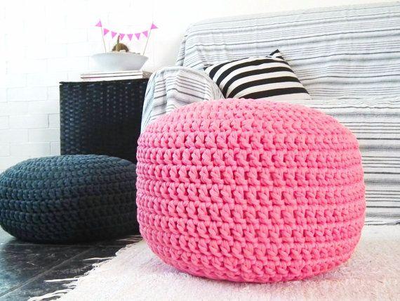 Bright Pink Pouf Ottoman Nursery Decor Footstool Pouf Ottoman Crochet Round Pouf Floor Cushion Kids Furniture Knit