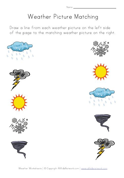 weather worksheets for several different skills – Kindergarten Matching Worksheets