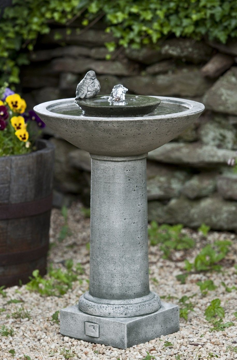 Fabulous Concrete Stone Bird Bath Design With Water Fountain Bowl Standing  With Pedestal On